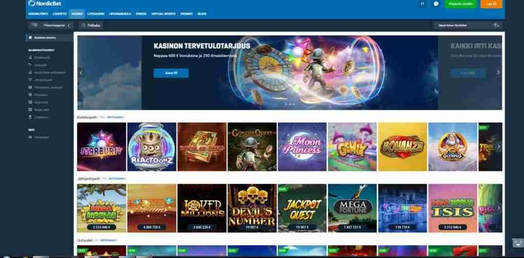 Nordicbet luotettava perinteikäs vedonlyöntisivusto suomalaisille pelaajille. Vedonlyöntibonukset, paysafecardkasino ja nopeat kotiutukset.