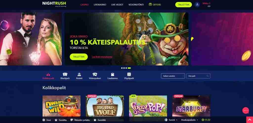 Nightrush tarjoaa vedonlyönti sivuston ja Kasinon.